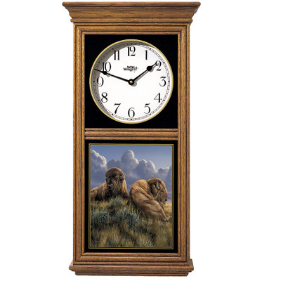 """Bison Oak Wood Regulator Wall Clock """"Old Timers"""""""