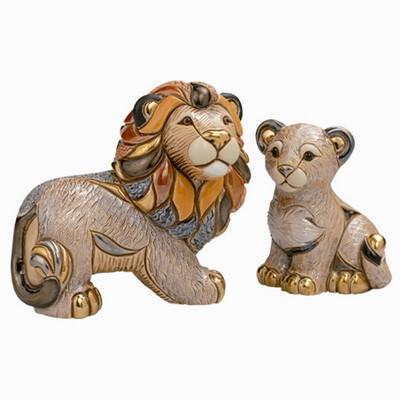 Lion and Cub Ceramic Figurine Set | Rinconada