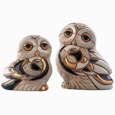 Snowy Owl and Baby Ceramic Figurine Set | De Rosa | Rinconada | F135-F335