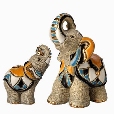 Asian Elephant and Baby Ceramic Figurine Set   Rinconada