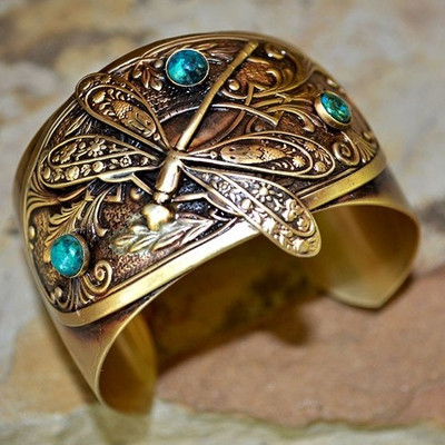 Dragonfly Brass Victorian Cuff Bracelet | Nature Jewelry
