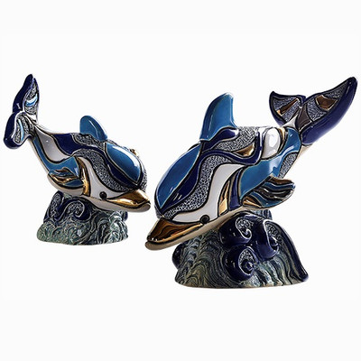 Dolphin and Baby Ceramic Figurine Set Collections