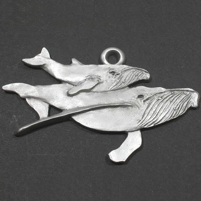 Humpback Whale and Baby Pewter Ornament
