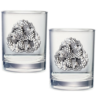 Grapes Double Old Fashioned Glass Set of 2