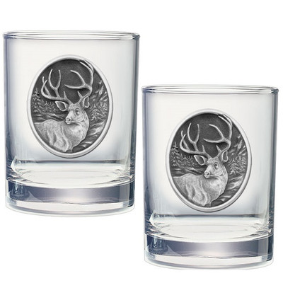 Mule Deer Double Old Fashioned Glass Set of 2