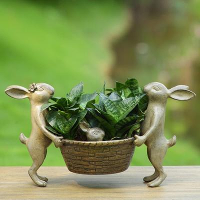 Rabbit Family Planter | 34430