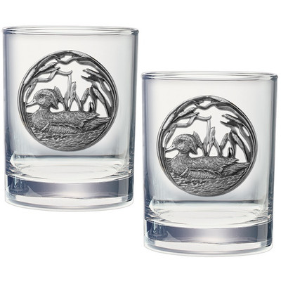 Wood Duck Double Old Fashioned Glass Set of 2