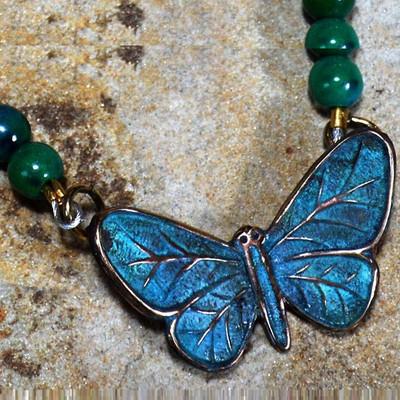 Butterfly Verdigris Brass Pendant Necklace | Elaine Coyne Jewelry | ZGP832N