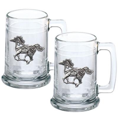 Horse Tribal Beer Stein Set of 2