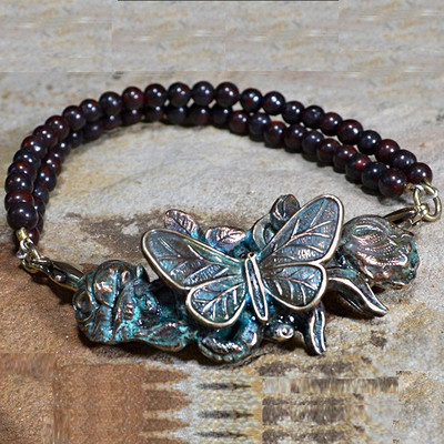 Butterfly on Roses Verdigris Brass Bracelet | Nature Jewelry