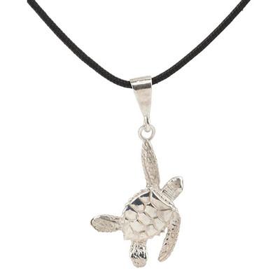 Sea Turtle Silver Pendant Necklace  | Nature Jewelry