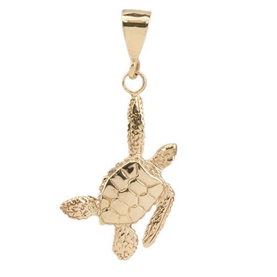 Sea Turtle 14K Gold Pendant | Nature Jewelry
