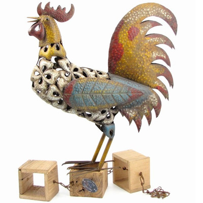 Rooster Colorful Metal Outdoor Sculpture