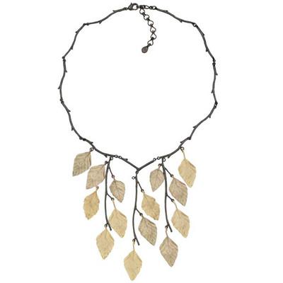 Autumn Birch Bib Necklace   Nature Jewelry