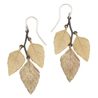 Autumn Birch Leaf Wire Earrings   Nature Jewelry