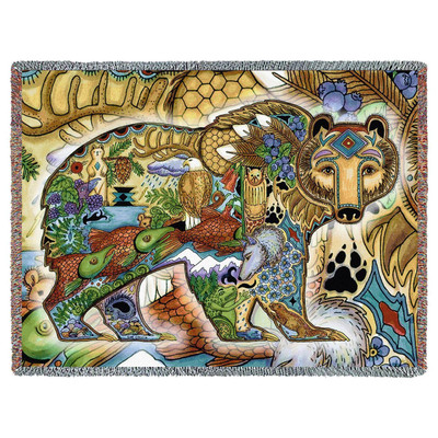 Grizzly Bear Tapestry Throw Blanket