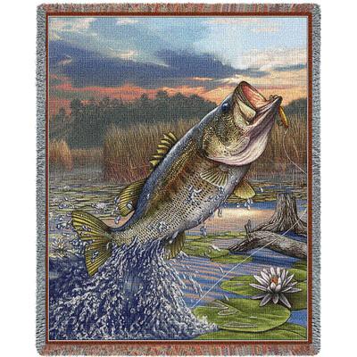 "Largemouth Bass Tapestry Throw Blanket "" First Strike"""