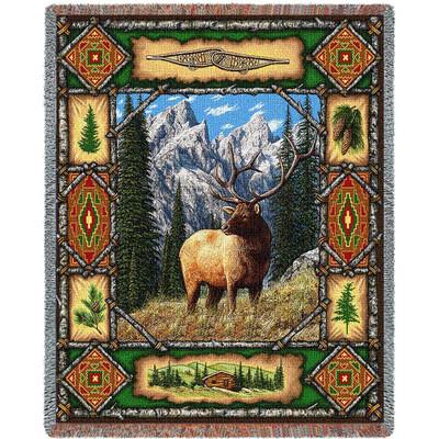 Elk Lodge Tapestry Throw Blanket