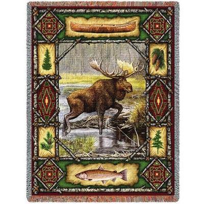 Moose Lodge Tapestry Throw Blanket