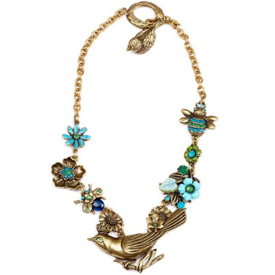 Bird and Bee  Asymmetrical Flower Necklace  | Nature Jewelry