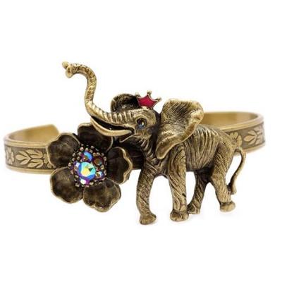Elephant and Flower Cuff Bracelet  | Nature Jewelry