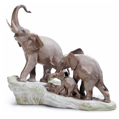 Elephants Walking Porcelain Figurine