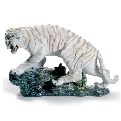 Mythological White Tiger Porcelain Figurine