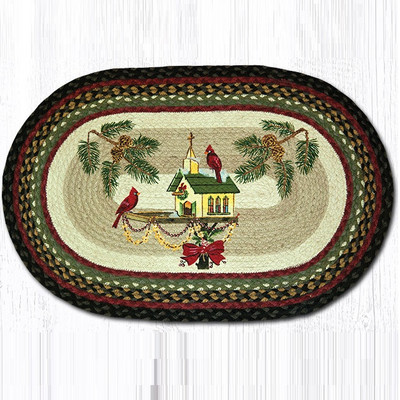 Cardinal Christmas Birdhouse Oval Patch Rug