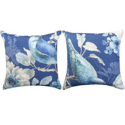 Bird Indigo Indoor/Outdoor Pillow