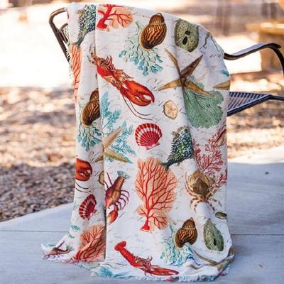 Sea Life Poly Throw Blanket