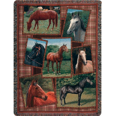 Horse Tapestry Throw Blanket Horsing Around