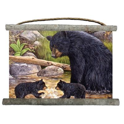 """Bear and Cubs Canvas Wall Hanging """"Bear Creek Gang"""""""