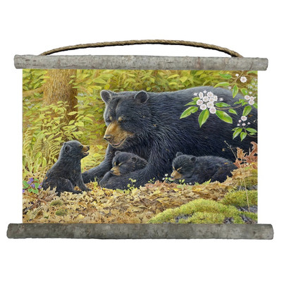 """Bear and Cubs Canvas Wall Hanging """"Crying Out Loud"""""""