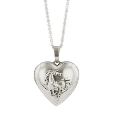 Horse Heart Locket Sterling Silver Necklace | Nature Jewelry