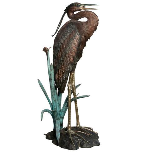 Heron Bronze Fountain Statue