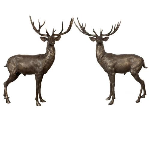 Deer Pair Standing Bronze Statue