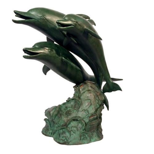 Three Dolphins Bronze Fountain Statue