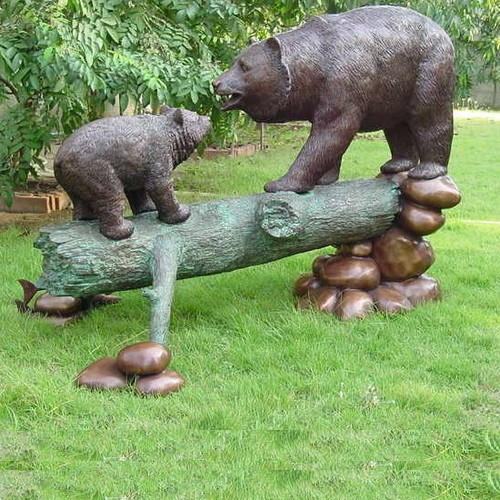 Bear and Cub  Bronze Statue