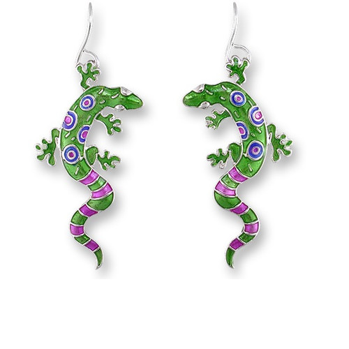Gecko Enameled Silver Plated Wire Earrings | Nature Jewelry