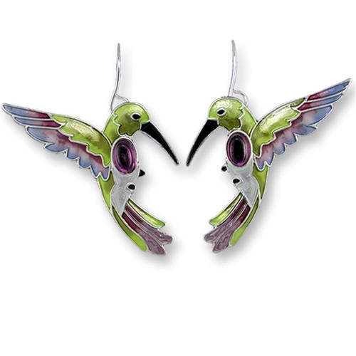 Hummingbird Enameled Wire Earrings | Nature Jewelry