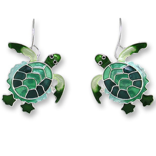 Green Turtle Enameled Silver Plated Wire Earrings | Nature Jewelry