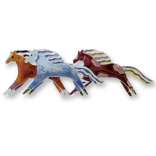 Horse Enamel Silver Plated Pearly Pin Wild Mustangs | Zarah Jewelry | 11-01-Z2