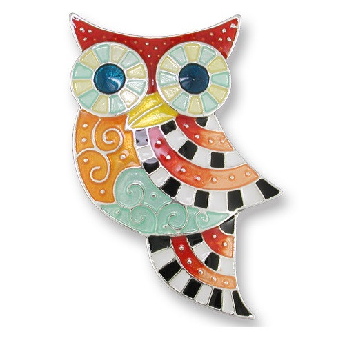 Owl Enameled Silver Plated Pin | Nature Jewelry