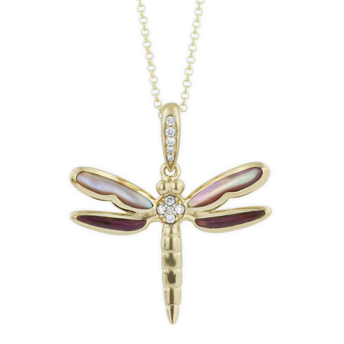 Dragonfly 14K Gold Inlay Pendant Necklace | Nature Jewelry