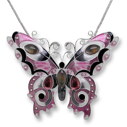 Butterfly Enamel Silver Plated Pendant Necklace |  Garnet | Zarah Jewelry | 07-15-Z2P