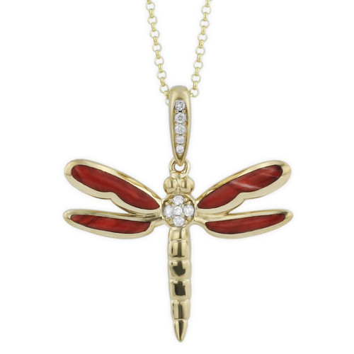 Dragonfly 14K Gold Red Inlay Pendant Necklace | Nature Jewelry