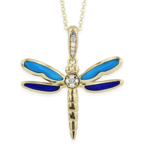 Dragonfly 14K Gold Turquoise Inlay Pendant Necklace | Nature Jewelry