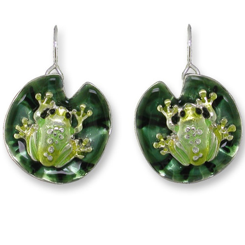 Frog On Lily Pad Enameled Wire Earrings   Nature Jewelry