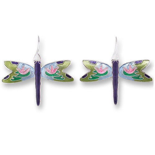 Dragonfly Montage Enameled Wire Earrings   Nature Jewelry