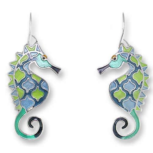 Seahorse Enameled Wire Earrings | Nature Jewelry